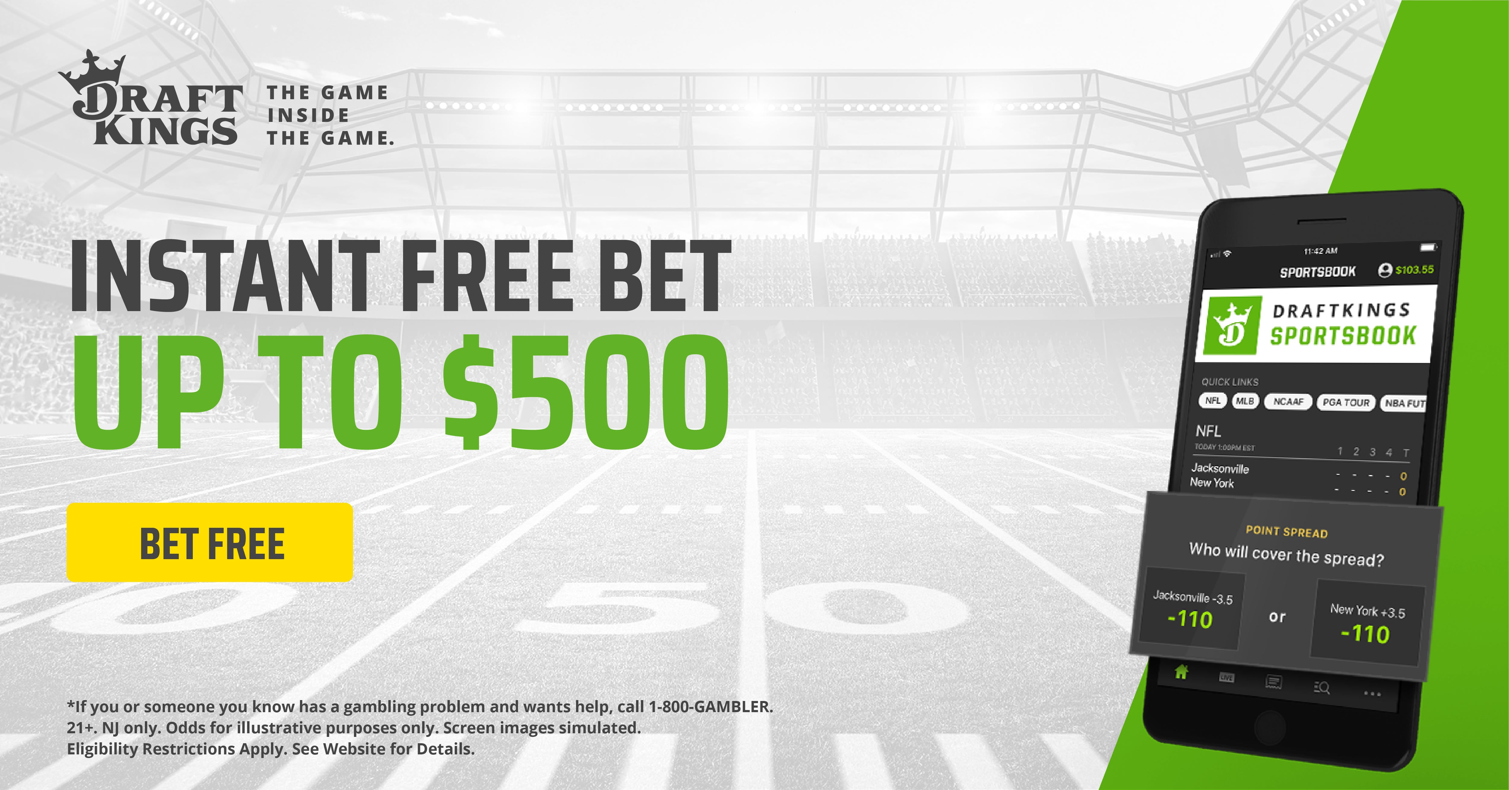 DraftKings Sportsbook Increases New Signup 1st Deposit Bonus To $500