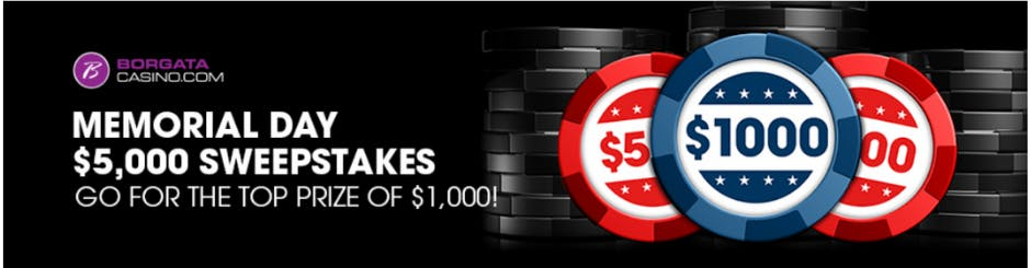 Borgata Casino Online Promo - Memorial Day $5000 Sweepstakes